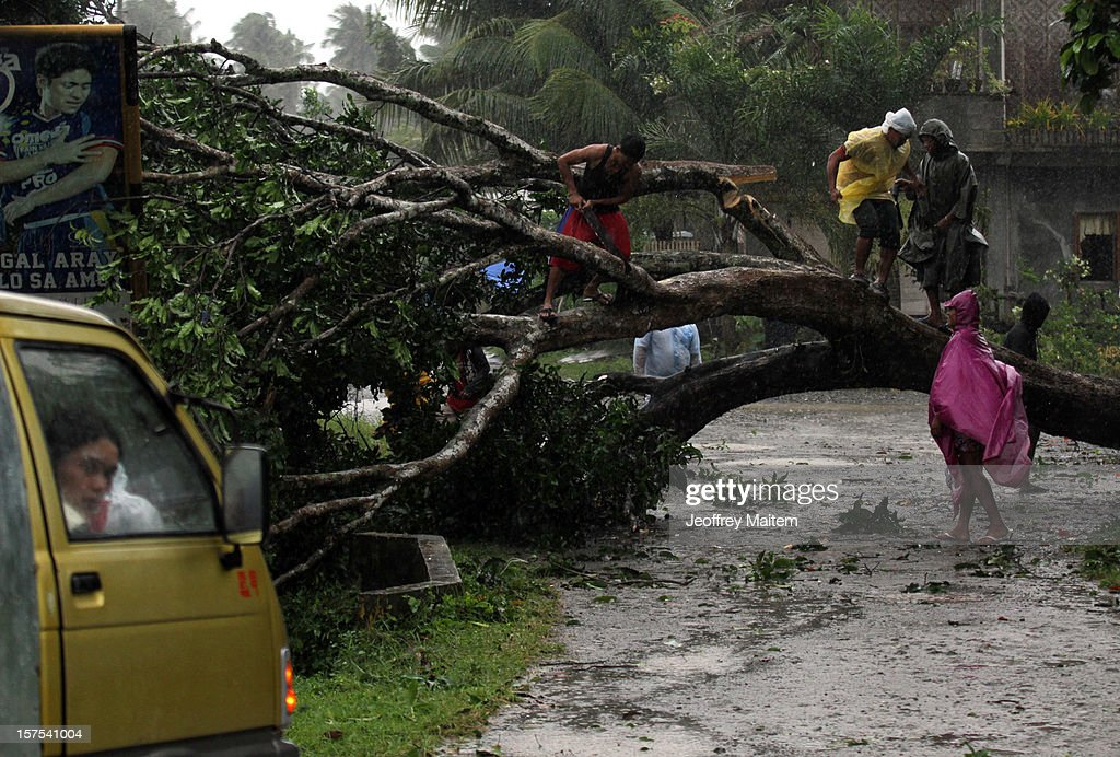 Residents cut trees that block the road after heavy rains and strong winds, brought about by Typhoon Bopha, hit the township of Mabini on December 04, 2012 in the province of Compostela Valley in the southern Philippines. Typhoon Bopha made landfall in the southern Philippines earlier today, bringing heavy rain and wind gusts of 210 km/h (130mph). So far at least 40 have died and over 40,000 people have been forced into shelters.