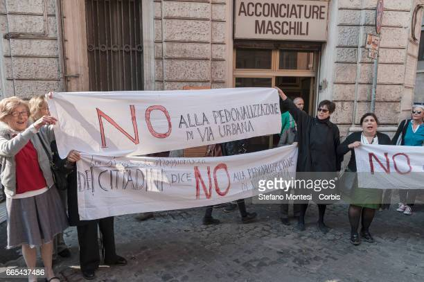 Residents from the Monti district protest against the creation of a pedestrian zone in via Urbana as Mayor of Rome Virginia Raggi not pictured...