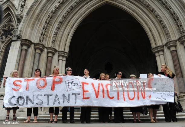 Residents from the travellers site at Dale Farm in Essex at the High Court in London today where they are appealing against a judgement brought by...