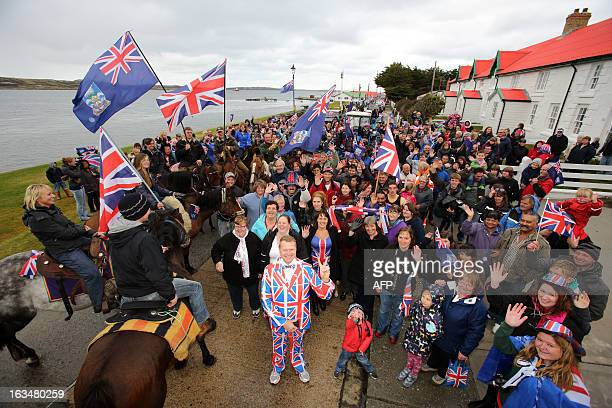 Residents gather in Stanley Falkland Islands on March 10 during a referendum intended to show the world that they want to stay British amid...