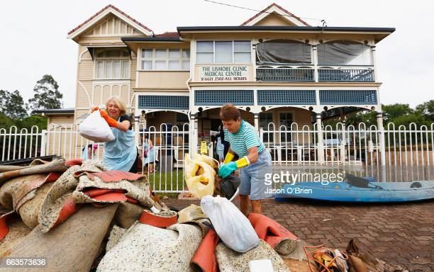 Residents help to clean up the Lismore Medical clinic on April 2 2017 in Lismore Australia Heavy rain has caused flash flooding in south east...