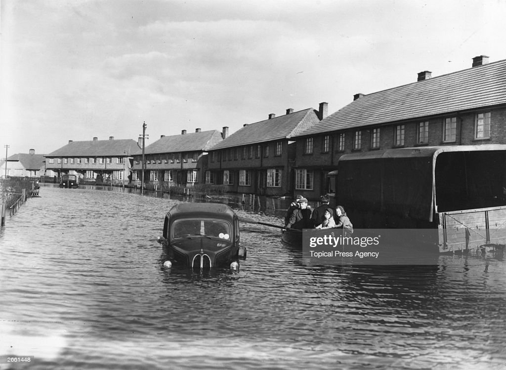 Residents of Canvey Island, Essex, being rescued by boat, during the disastrous floods.