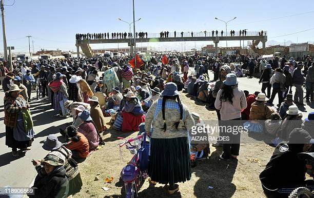 Residents of El Alto block roads for a second consecutive day on July 12 2011 in demand of basic public services preventing Bolivia's statecontrolled...