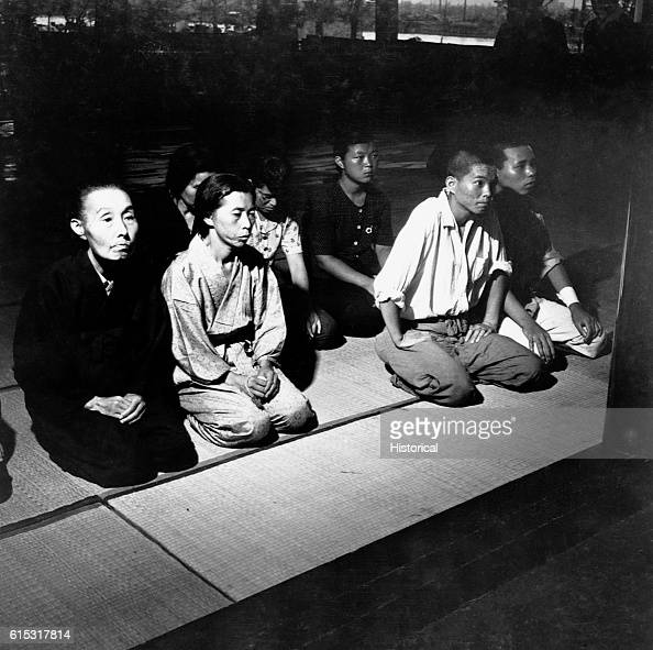 Residents of Hiroshima attend Shinto services for friends and relatives killed in the atom bomb blast Hiroshima 1945