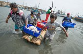 Residents of Islilla in Piura northern Peru unload fish from boats on July 14 2016 Overfishing has put in risk the subsistence of the 30000 artisanal...
