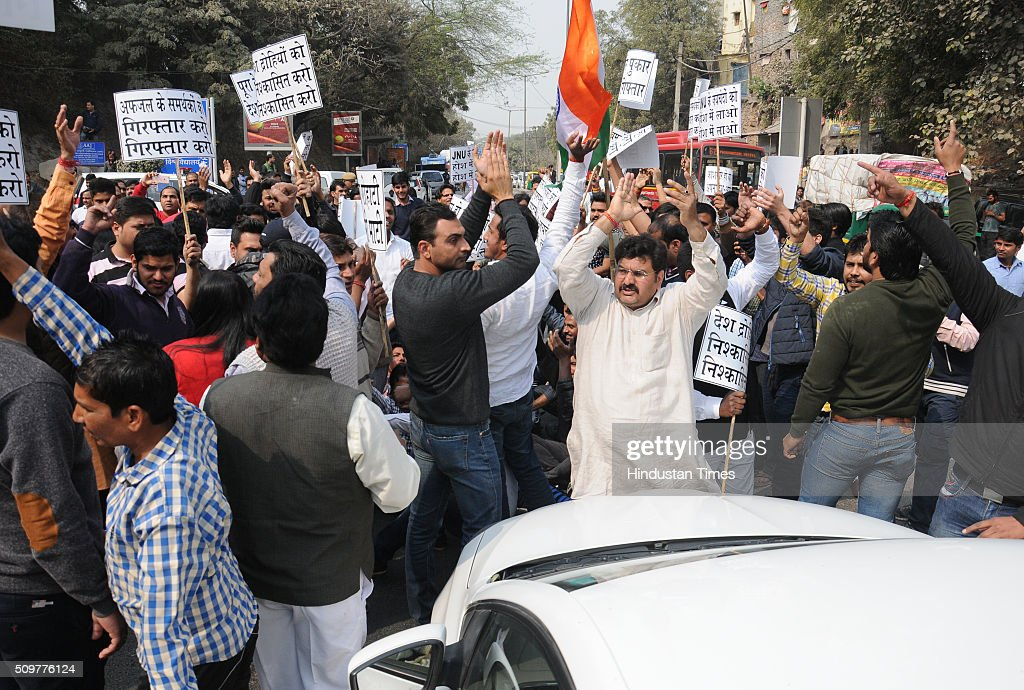 Residents of nearby Munirka Village during demonstration against the organisers of the event on Afzal Guru where slogans were anti-national slogans were raised at JNU Campus on February 12, 2016 in New Delhi, India. JNU students union president Kanhaiya Kumar was arrested on in connection with a case of sedition and criminal conspiracy over holding of an event at the prestigious institute against hanging of Parliament attack convict Afzal Guru in 2013. A group of students on Tuesday held an event on the JNU campus and allegedly shouted slogans against India.