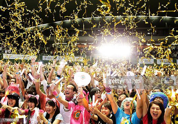 Residents of Olympic bid city Tokyo celebrate after the announcement of the 2020 Summer Olympic Games host city at Komazawa Olympic Park on September...