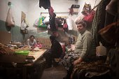 Residents of the Prtrovskiy neighborhood of Donetsk sit in a shelter on November 17 2014 Most of the people in the shelter have been taking refuge...