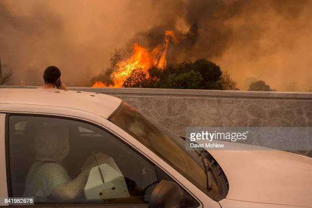Residents on the 210 freeway try to see if their house and two of their cats on the other side of thick smoke and flames might burn near the...