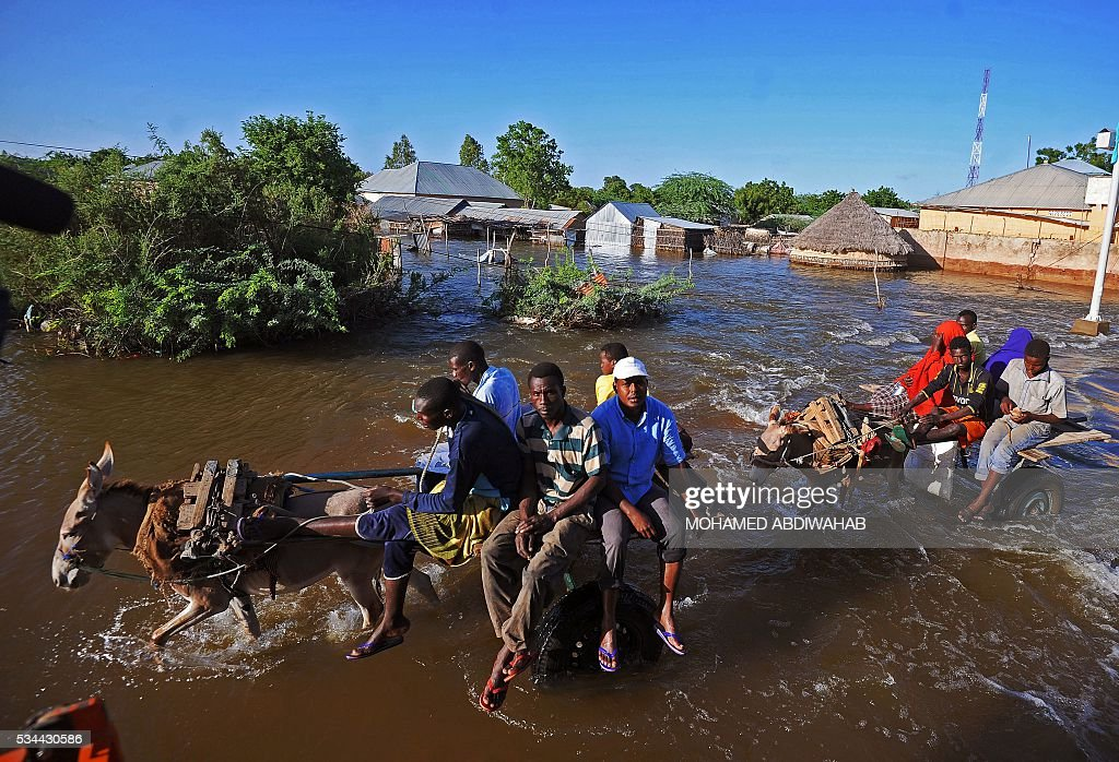 Residents use donkeys to navigate through flooded streets in Beledweyne, north of Mogadishu on May 26, 2016. Hundreds of families have been forced out of their homes following flash floods in Beledweyne after torrential rains pounded the area in the last few days.The heavy rains led to the bursting of River Shabelle which caused massive floods in residential areas along the river. / AFP / MOHAMED