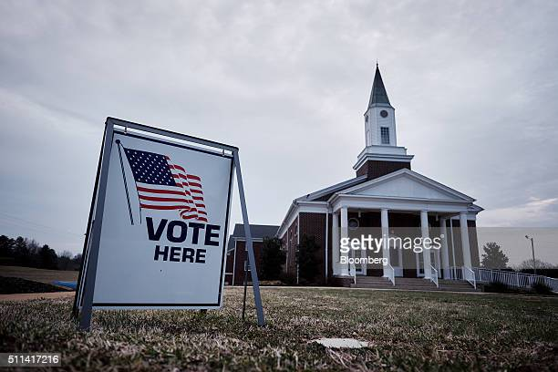 Residents vote in the South Carolina Republican presidential primary election at the Cross Roads Baptist Church in Greer South Carolina US on...