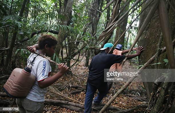 Residents walk while giving a tour of threatened forest near homes in the Imbiral quilombo which community members say is being heavily encroached...