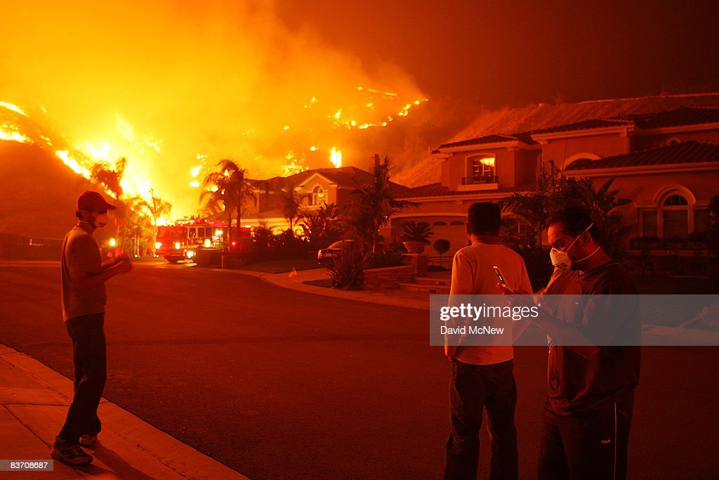 Residents Watch As Fire Comes Close To Their Homes On November 15 2008 In Yorba