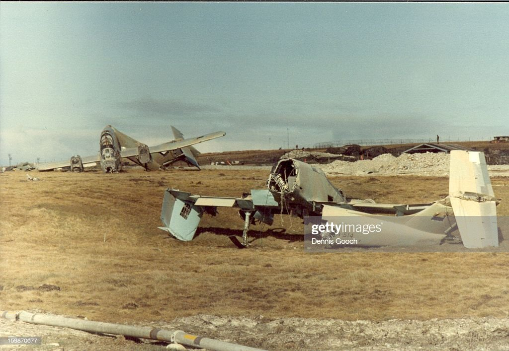 CONTENT] Residue of war at Stanley Airfield. October 1983. FMA Pucara. Closest aircraft is FMA Pucara A514.
