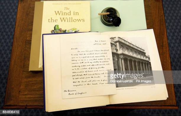 A resignation letter written by author of 'The Wind in the Willows' Kenneth Grahame which goes on display at the Bank of England Museum from...