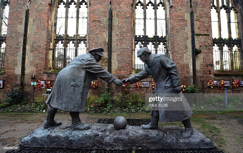 A resin model of a sculpture illustrating the WW1 Christmas Truce... Pictures   Getty Images