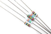 A bunch of resistors, electronic component, on a white background