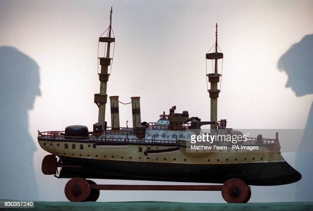 'HMS Resolution' a rare tinplate battleship pictured at Sotheby's in London which is due to be auctioned on sothebysamazoncom and is expected to sell...
