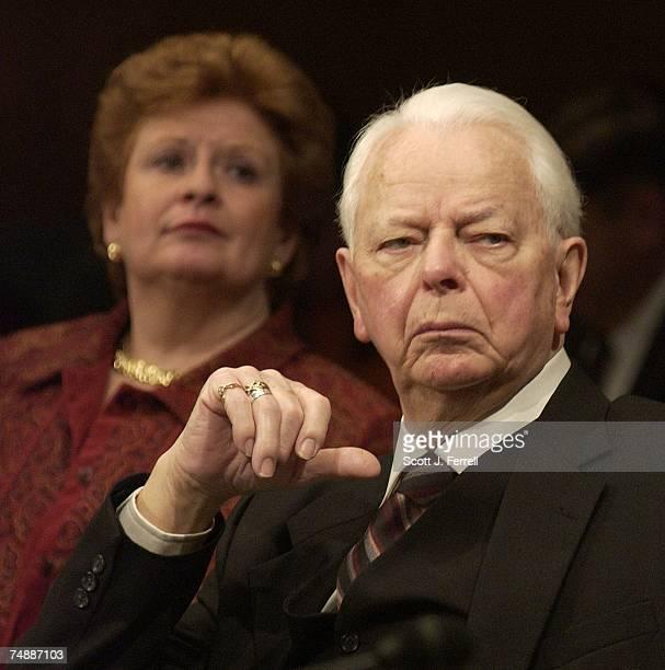 RESOLUTIONSen Debbie Stabenow DMich and Sen Robert C Byrd DWVa listen to the opening statement of ranking Democrat Kent Conrad DND during the Senate...
