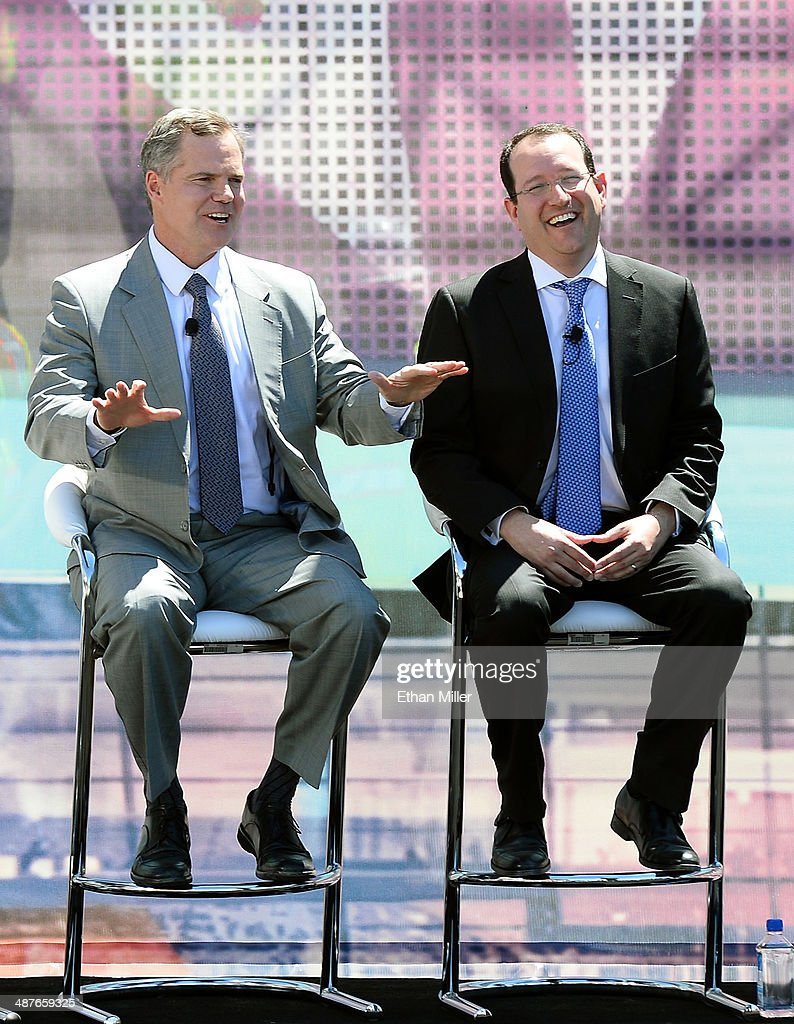 Resorts International Chairman and CEO Jim Murren (L) and President and CEO of AEG Dan Beckerman laugh during a groundbreaking for a USD 375 million, 20,000-seat sports and entertainment arena being built by MGM Resorts International and AEG on May 1, 2014 in Las Vegas, Nevada. The arena is scheduled to open in early 2016.