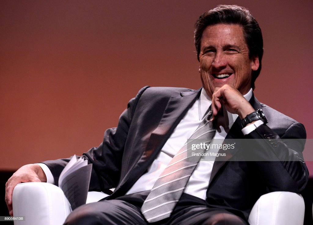 President of MGM Resorts International Bill Hornbuckle smiles during a news conference as the WNBA and MGM Resorts International announce the Las Vegas Aces as the name of their franchise at the House of Blues Las Vegas inside Mandalay Bay Resort and Casino on December 11, 2017 in Las Vegas, Nevada. In October, the league announced that the San Antonio Stars would relocate to Las Vegas and begin play in the 2018 season at the Mandalay Bay Events Center.