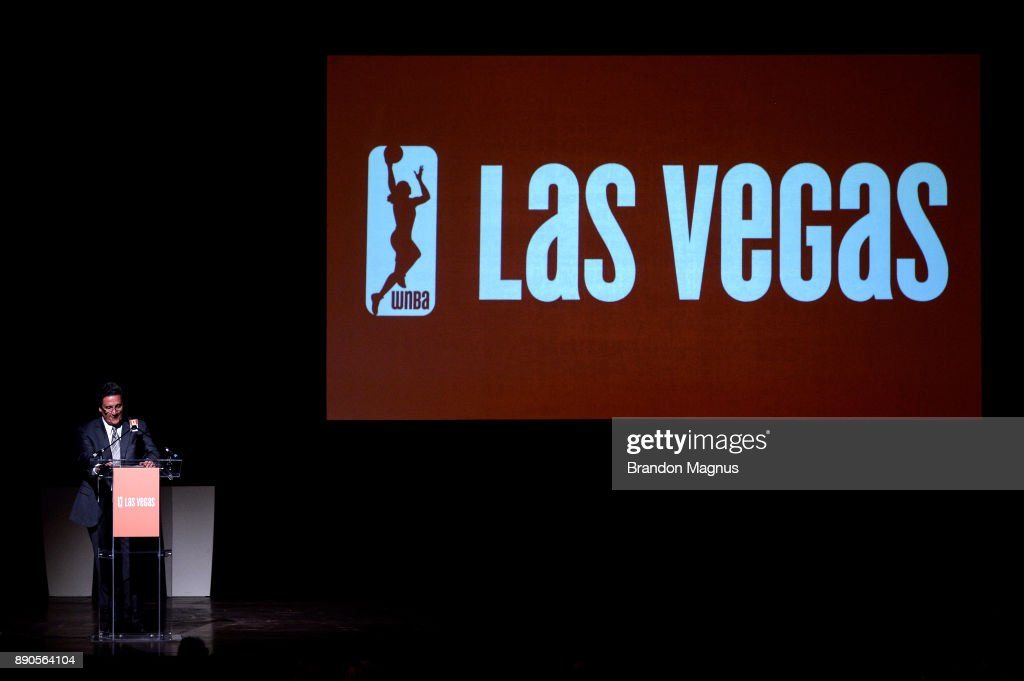 President of MGM Resorts International Bill Hornbuckle speaks during a news conference as the WNBA and MGM Resorts International announce the Las Vegas Aces as the name of their franchise at the House of Blues Las Vegas inside Mandalay Bay Resort and Casino on December 11, 2017 in Las Vegas, Nevada. In October, the league announced that the San Antonio Stars would relocate to Las Vegas and begin play in the 2018 season at the Mandalay Bay Events Center.