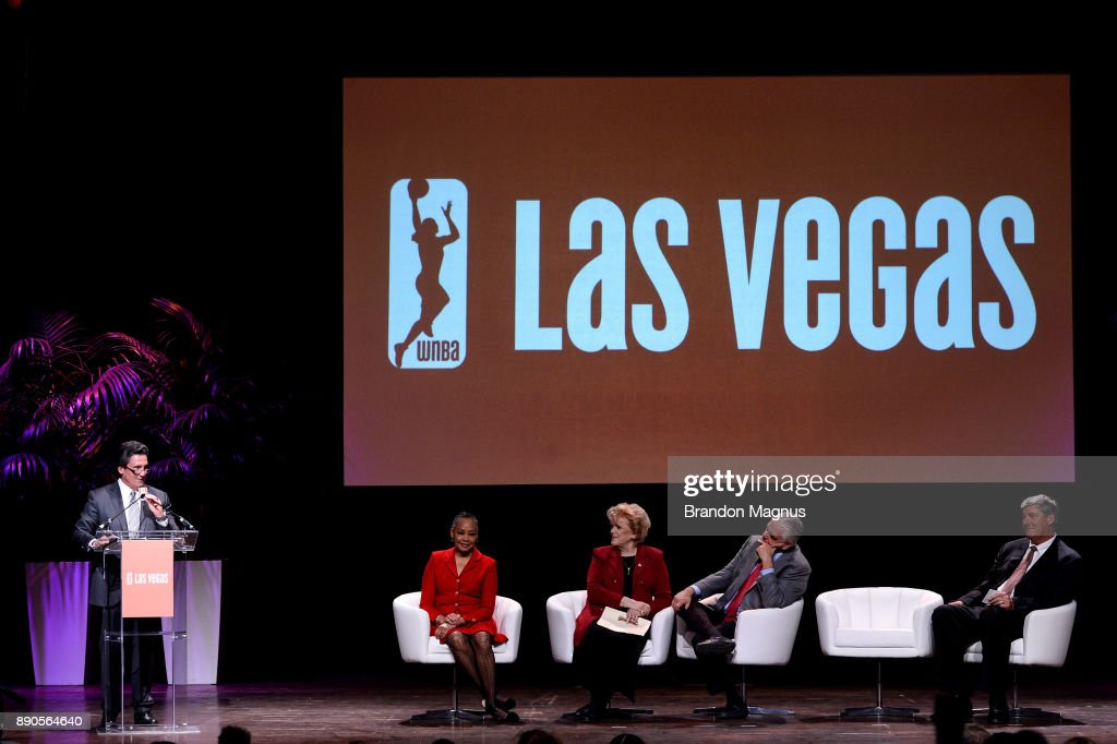 President of MGM Resorts International Bill Hornbuckle (L) speaks during a news conference as the WNBA and MGM Resorts International announce the Las Vegas Aces as the name of their franchise at the House of Blues Las Vegas inside Mandalay Bay Resort and Casino on December 11, 2017 in Las Vegas, Nevada. In October, the league announced that the San Antonio Stars would relocate to Las Vegas and begin play in the 2018 season at the Mandalay Bay Events Center.