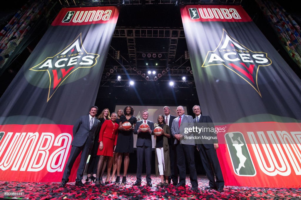 President of MGM Resorts International Bill Hornbuckle, President of the WNBA Lisa Borders, professional basketball player Kayla Janine Alexander, CEO of MGM resorts International Jim Murren, professional basketball player Moriah Jefferson, head coach Bill Laimbeer, and Clark County Commission Chairman Steve Sisolak pose for a picture during a news conference as the WNBA and MGM Resorts International announce the Las Vegas Aces as the name of their franchise at the House of Blues Las Vegas inside Mandalay Bay Resort and Casino on December 11, 2017 in Las Vegas, Nevada. In October, the league announced that the San Antonio Stars would relocate to Las Vegas and begin play in the 2018 season at the Mandalay Bay Events Center.