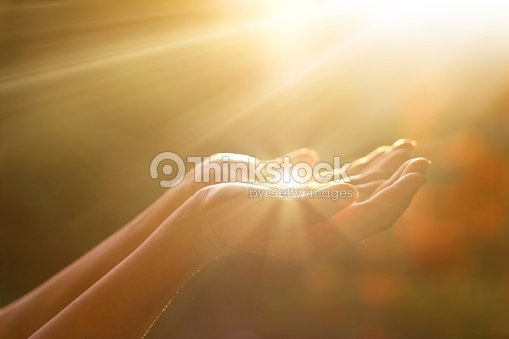 Respect and praying on nature background