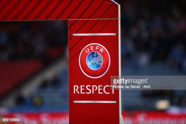 Respect branding during the FIFA 2018 World Cup Qualifier between Scotland and Slovenia at Hampden Park on March 26 2017 in Glasgow Scotland