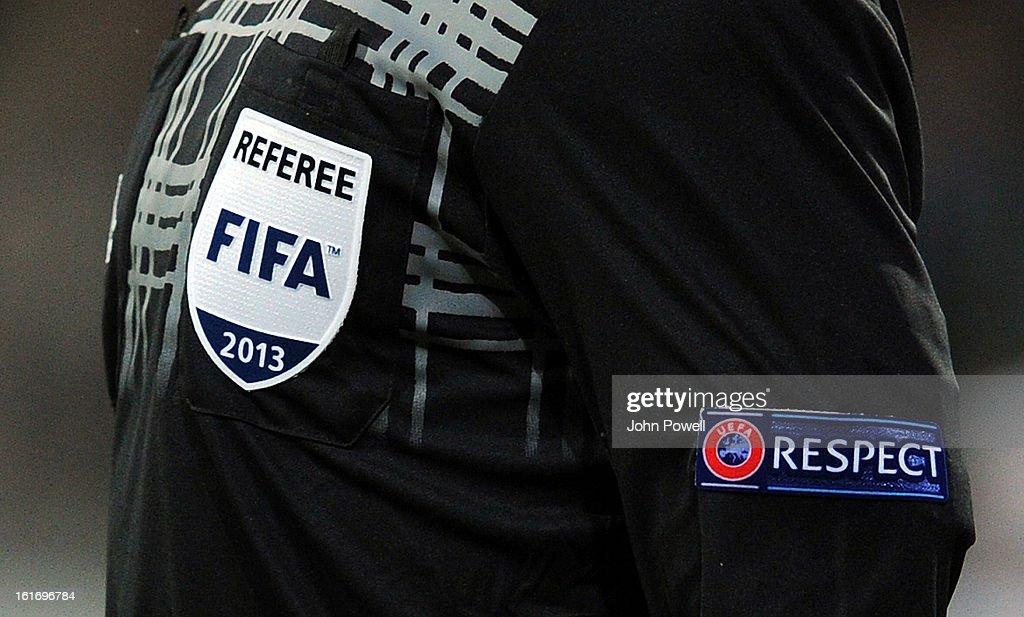 A Respect campaign badge is displayed on the kit of one of the UEFA match officials during the UEFA Europa League round of 32 first leg match between FC Zenit St Petersburg and Liverpool on February 14, 2013 in Saint Petersburg, Russia.