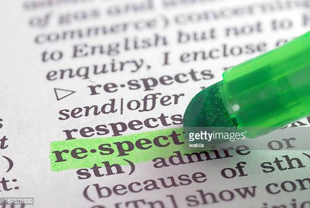 respect definition highlighted in dictionary