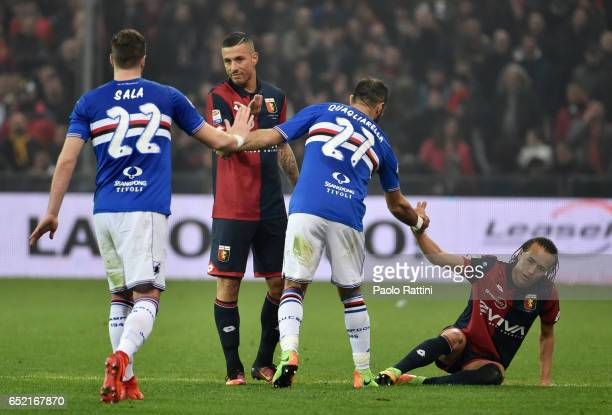 Respect Jacopo Sala and Fabio Quagliarella of Sampdoria with Armando Izzo and Diego Laxalt of Genoa during the Serie A match between Genoa CFC and UC...