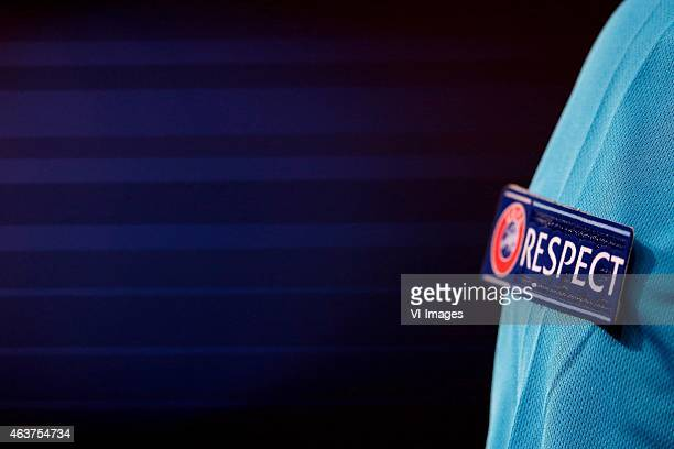 respect logo UEFA referee during the champions laegue match between Paris Saint Germain and Chelsea at Parc des Princes on February 17 2015 in Paris...