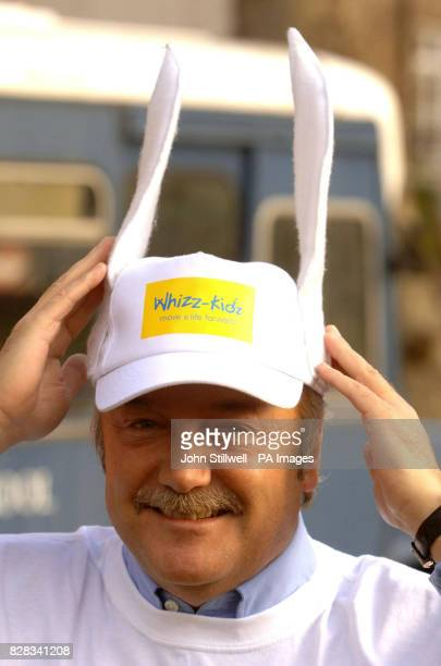 Respect MP George Galloway MP wears bunny ears before taking part in a threelegged charity race in Westminster Wednesday February 8 in support of the...