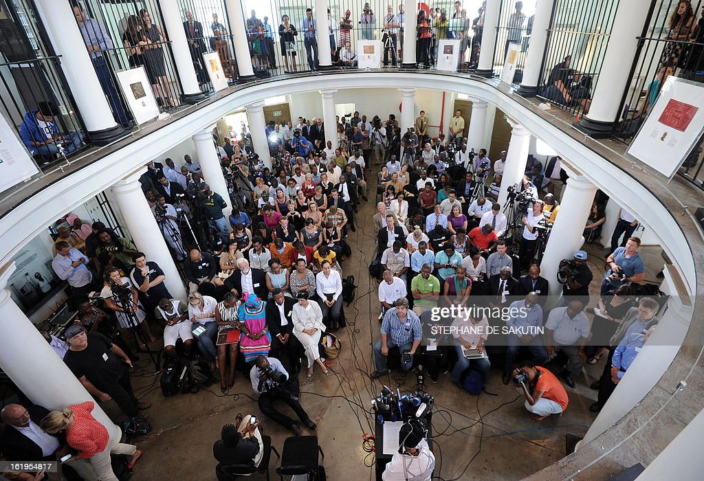 Respected businesswoman and antiapartheid activist Mamphela Ramphele delivers a speech on February 18 2013 at the Women's Gaol on Constitution Hill...
