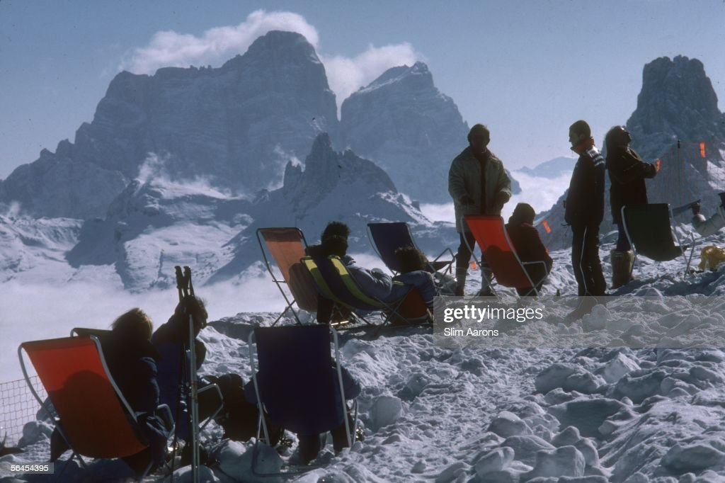 A rest from skiing at Cortina d'Ampezzo, March 1982.