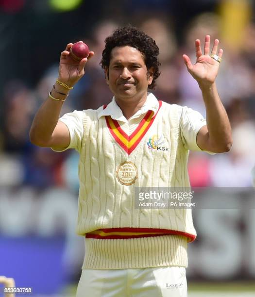 Rest of the World's Sachin Tendulkar organises his field during the Lord's Bicentenary match at Lord's Cricket Ground London