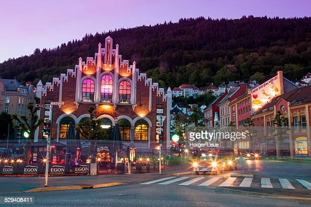 Restaurant and city streets at dusk