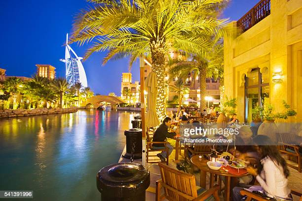 Restaurant at Souk Madinat Jumeirah with Burj al Arab in the Background