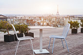 beautiful luxury rooftop restaurant in Paris with panoramic view of the city