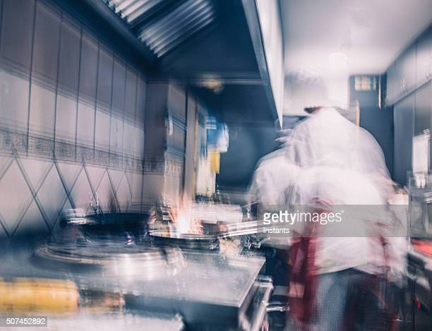 Restaurant kitchen blur