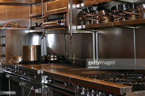 Restaurant kitchen in stainless steel