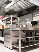 Restaurant kitchen interior. Workspace of talented and successful cooks. Clean and tidy working surfaces