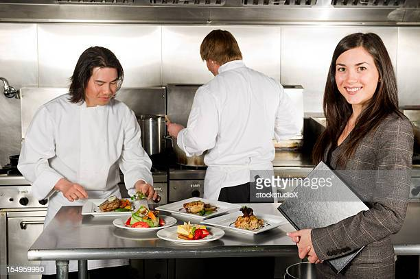 Restaurant manager at the kitchen