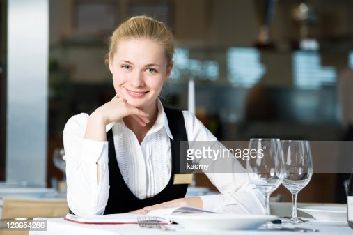 restaurant manager woman at work place : Stock Photo