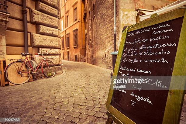 Restaurant Menu on the Street in Rome