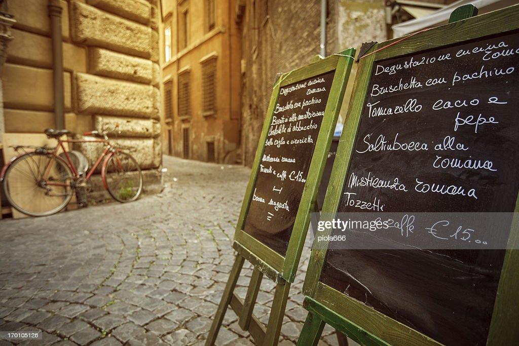 Restaurant Menu on the Street in Rome