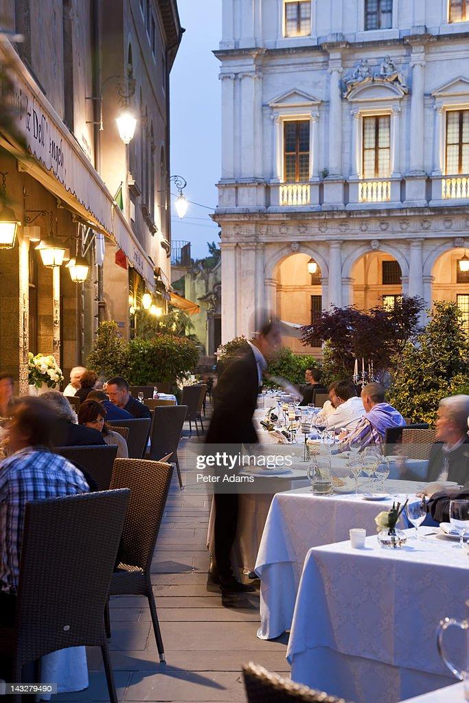 Restaurant, Old Square, Bergamo, Italy : Stock Photo