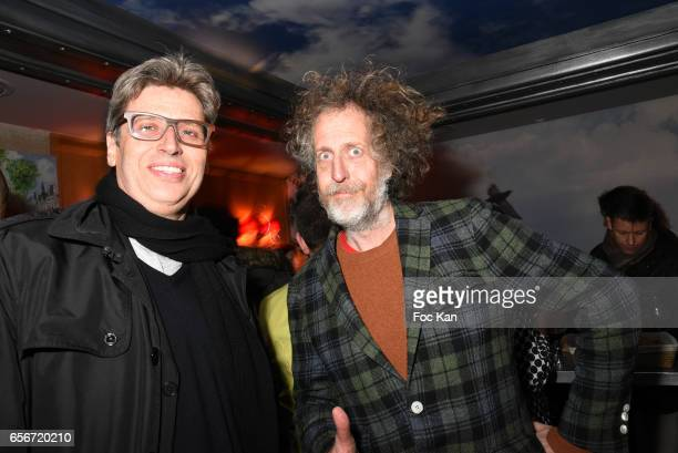 Restaurant owner Yves de Roquemaurel and Fabrice de Rohan Chabot from Technikart attend 'Apero Mecs A Legumes' Party Hosted by Grand Seigneur...